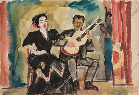 Guitarist and singer, Watercolour by Pyotr Konchalovsky (1876-1956, Russia)