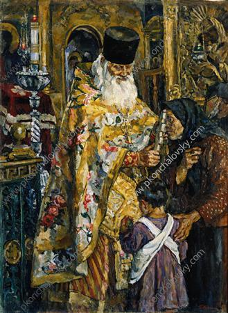 In the cathedral of Yuryev (Abbot Bessarion), 1926 by Pyotr Konchalovsky (1876-1956, Russia) | Museum Quality Reproductions | WahooArt.com