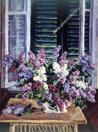 Still Life. Lilac against the green shutters., 1947 by Pyotr Konchalovsky (1876-1956, Russia)