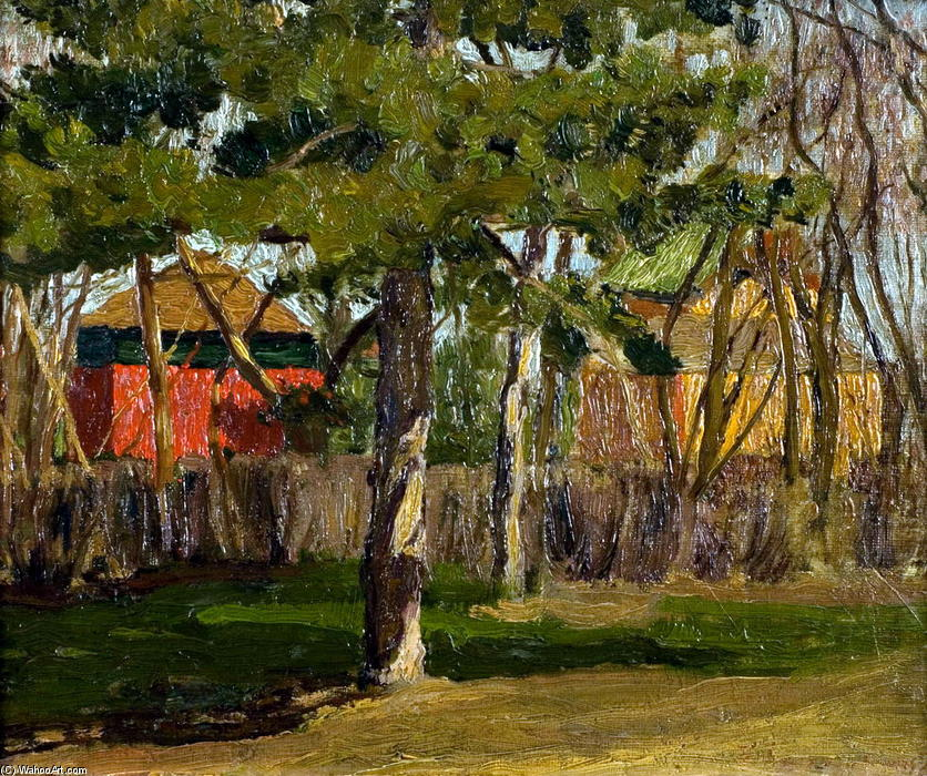 Cottages, Oil by Pyotr Konchalovsky (1876-1956, Russia)