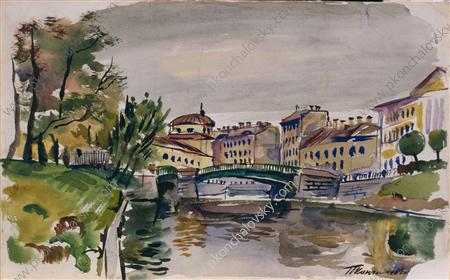 Moika. Three-arch bridge., Watercolour by Pyotr Konchalovsky (1876-1956, Russia)