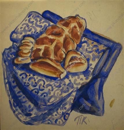 Sketch of still life with bread, Watercolour by Pyotr Konchalovsky (1876-1956, Russia)