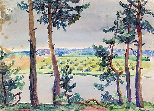 Fir trees by the river by Pyotr Konchalovsky (1876-1956, Russia) | Oil Painting | WahooArt.com