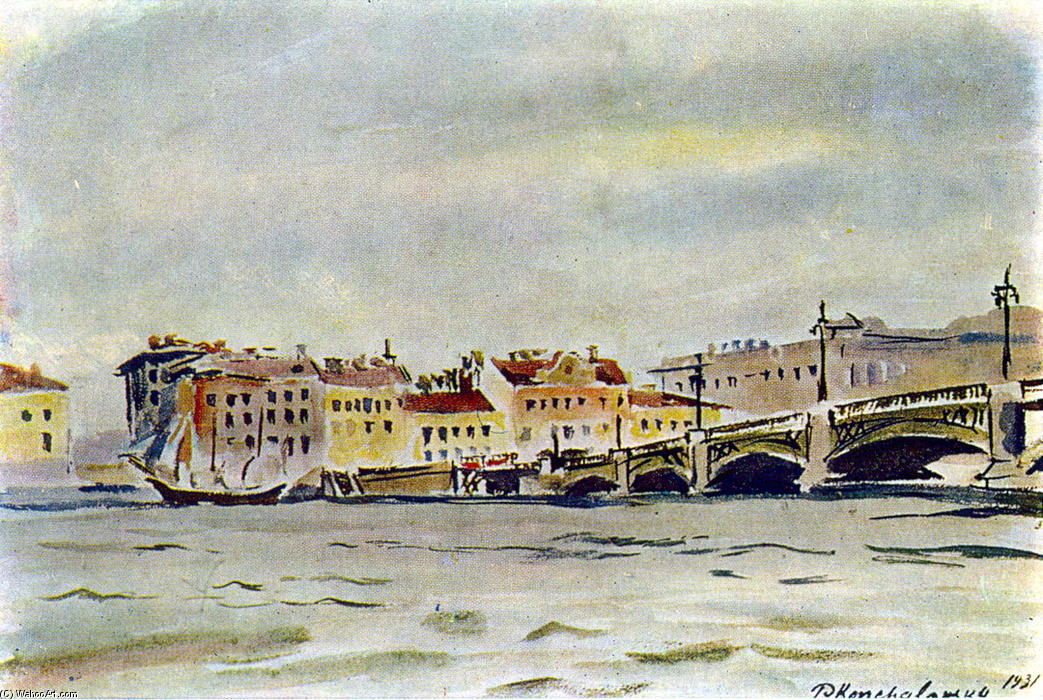 Leningrad. The embankment of the Neva., Watercolour by Pyotr Konchalovsky (1876-1956, Russia)