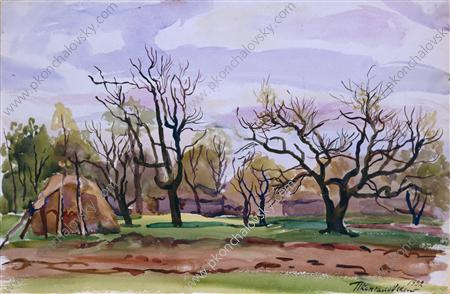 Spring. State Farm `mounds`., 1932 by Pyotr Konchalovsky (1876-1956, Russia) | Art Reproduction | WahooArt.com