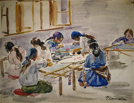 Bakhchisarai. Embroidery carpet cooperative., Watercolour by Pyotr Konchalovsky (1876-1956, Russia)
