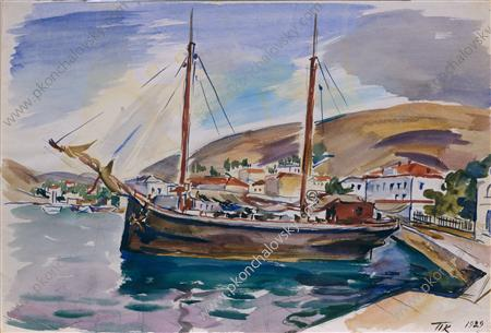 Balaklava. Ship to the shore., Watercolour by Pyotr Konchalovsky (1876-1956, Russia)