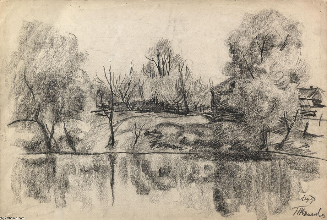 Village pond, Charcoal by Pyotr Konchalovsky (1876-1956, Russia)