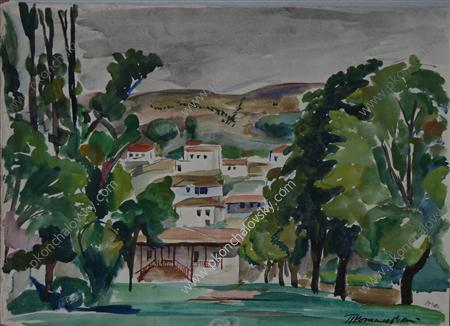 Bakhchisaray, Watercolour by Pyotr Konchalovsky (1876-1956, Russia)