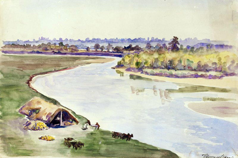 Near the river by Pyotr Konchalovsky (1876-1956, Russia)
