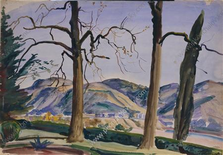 Kutaisi. Rionges., Watercolour by Pyotr Konchalovsky (1876-1956, Russia)