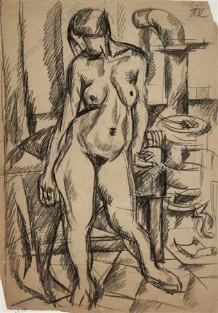 The Model by the stove, 1917 by Pyotr Konchalovsky (1876-1956, Russia)