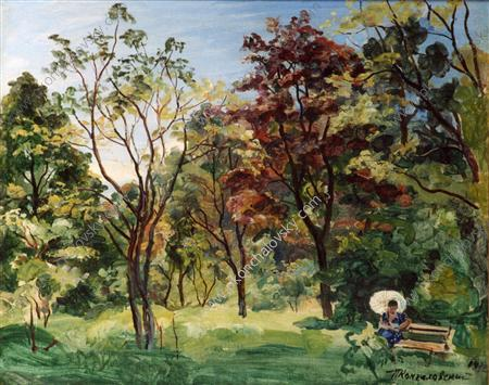 In the garden. Sunny day., 1932 by Pyotr Konchalovsky (1876-1956, Russia) | Famous Paintings Reproductions | WahooArt.com