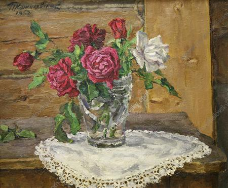 Still Life. Roses on a yellow background., 1953 by Pyotr Konchalovsky (1876-1956, Russia)