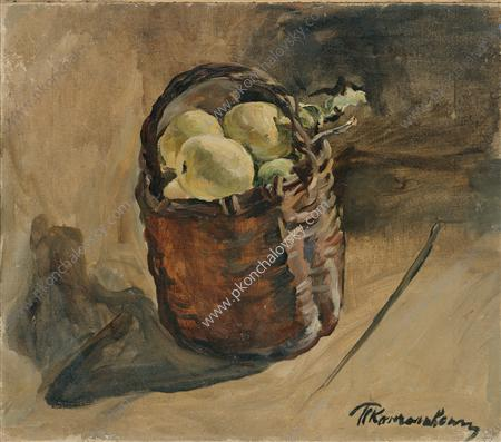 Still Life. Basket of apples on the floor., 1932 by Pyotr Konchalovsky (1876-1956, Russia)