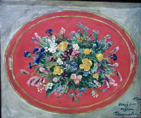 Still Life. Field bouquet. Study for the tray., 1931 by Pyotr Konchalovsky (1876-1956, Russia)