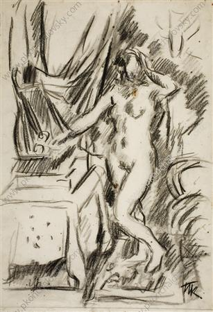 The Model at the mirror, Charcoal by Pyotr Konchalovsky (1876-1956, Russia)