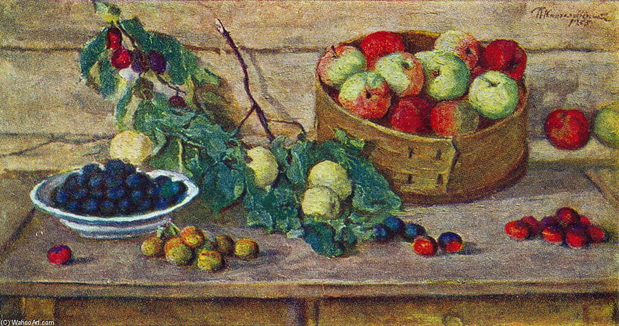 Still Life. Apples in a sieve., 1955 by Pyotr Konchalovsky (1876-1956, Russia) | Museum Quality Reproductions | WahooArt.com