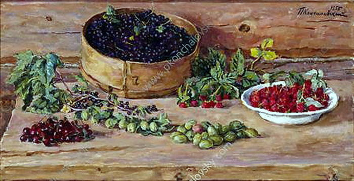 Still Life. Currants on a sieve., 1955 by Pyotr Konchalovsky (1876-1956, Russia) | Oil Painting | WahooArt.com