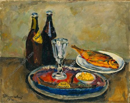 Still Life. Beer and roach., 1946 by Pyotr Konchalovsky (1876-1956, Russia) | Museum Quality Reproductions | WahooArt.com
