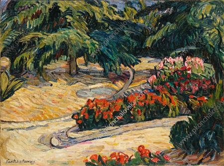 Palm trees and geranium, 1908 by Pyotr Konchalovsky (1876-1956, Russia)
