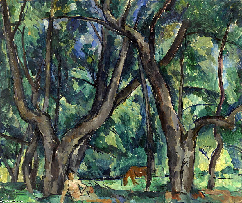 The boy in the park, 1921 by Pyotr Konchalovsky (1876-1956, Russia)