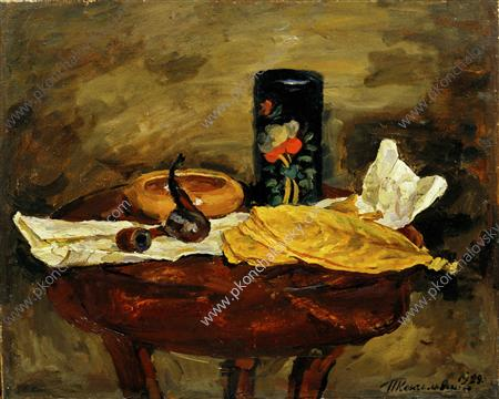 Still Life. Tobacco leaves and black tea caddy., 1929 by Pyotr Konchalovsky (1876-1956, Russia)
