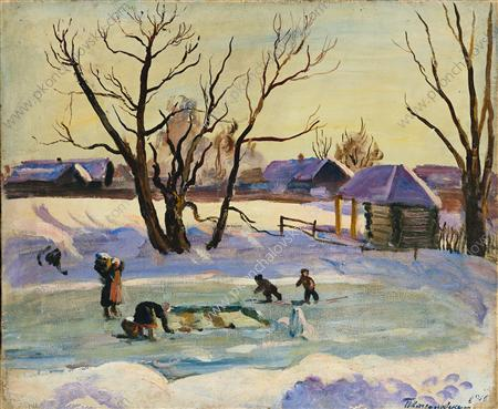 Pond. Sun and snow., 1936 by Pyotr Konchalovsky (1876-1956, Russia)