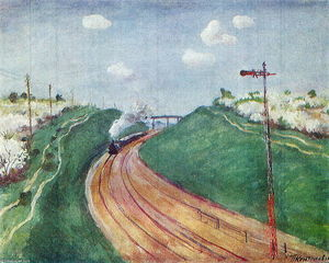 Pyotr Konchalovsky - Spring Landscape with train