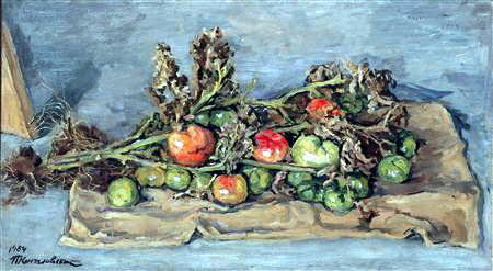 Still Life. Tomatoes on the bag., 1954 by Pyotr Konchalovsky (1876-1956, Russia)