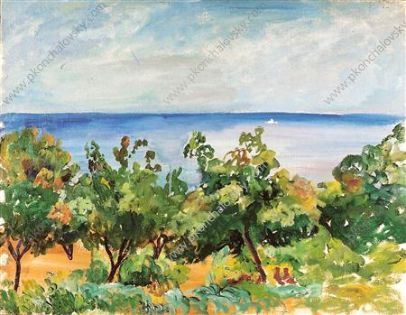 Gurzuf. The trees on the background of the sea., 1929 by Pyotr Konchalovsky (1876-1956, Russia)