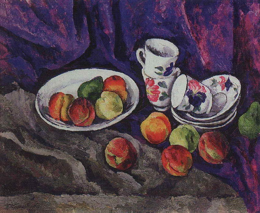 Still Life. Peaches., 1916 by Pyotr Konchalovsky (1876-1956, Russia) | Oil Painting | WahooArt.com