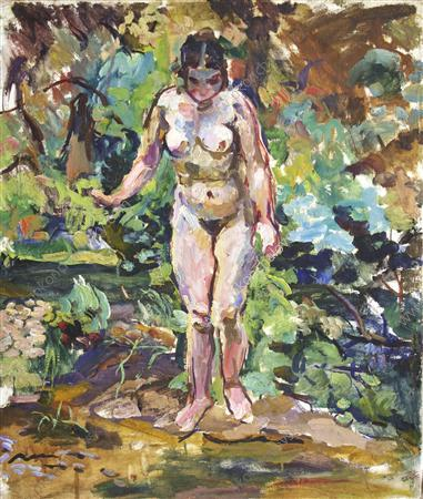 Nude on a green background, 1928 by Pyotr Konchalovsky (1876-1956, Russia)