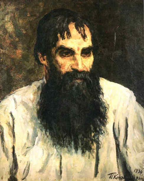 Portrait of national artist, a woodcarver, A. Ershov, 1936 by Pyotr Konchalovsky (1876-1956, Russia)