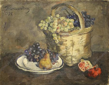 Still Life. Grapes and pomegranates., 1928 by Pyotr Konchalovsky (1876-1956, Russia)