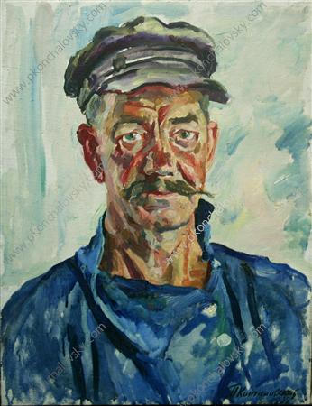 Portrait of worker Yakobchenko, 1938 by Pyotr Konchalovsky (1876-1956, Russia)