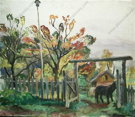 Horse at the gate, 1930 by Pyotr Konchalovsky (1876-1956, Russia)