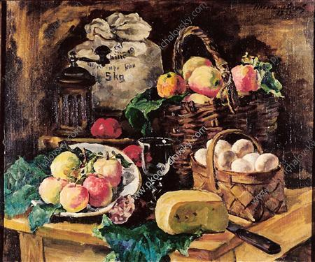 Still Life with a fly. Every victuals., 1932 by Pyotr Konchalovsky (1876-1956, Russia)