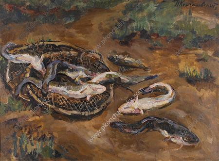 Still Life. Burbot in the ground., 1928 by Pyotr Konchalovsky (1876-1956, Russia)
