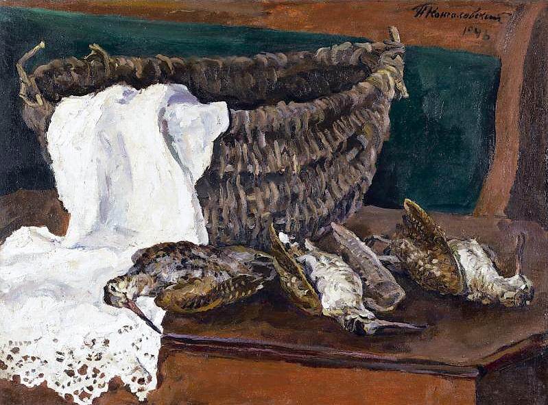 Still life with basket and woodcock, 1946 by Pyotr Konchalovsky (1876-1956, Russia)