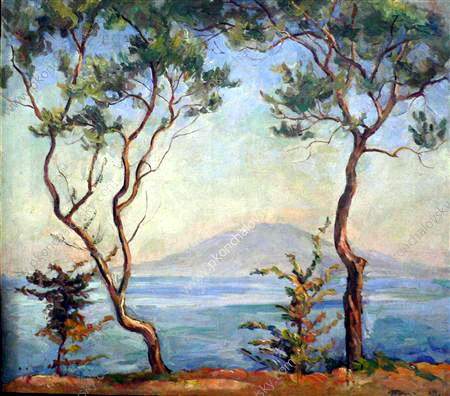 Sorrento. Mount Vesuvius. Two olive trees., 1924 by Pyotr Konchalovsky (1876-1956, Russia) | Famous Paintings Reproductions | WahooArt.com