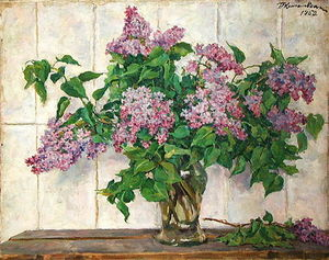 Pyotr Konchalovsky - Still Life - Lilacs in a glass jar against the stove