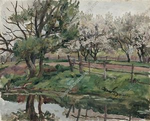 Pyotr Konchalovsky - Grey day. Blossoming apple trees by the pond.