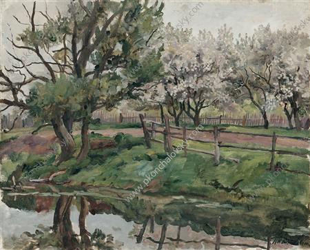 Grey day. Blossoming apple trees by the pond., 1937 by Pyotr Konchalovsky (1876-1956, Russia)