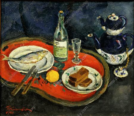 Still Life. It's time for tea., 1946 by Pyotr Konchalovsky (1876-1956, Russia)