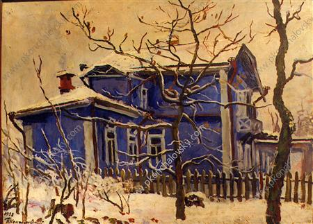 The first snow. The blue cottage., 1938 by Pyotr Konchalovsky (1876-1956, Russia) | Museum Quality Reproductions | WahooArt.com