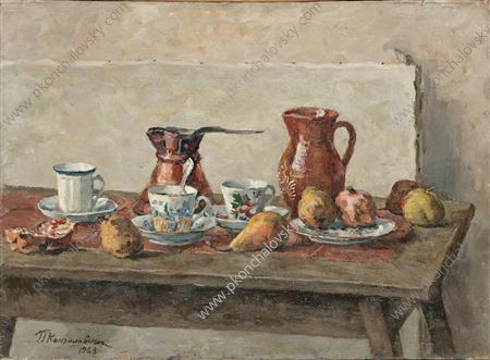Still Life. Dishes and fruits., 1953 by Pyotr Konchalovsky (1876-1956, Russia)