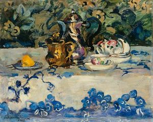 Pyotr Konchalovsky - Still Life. Gold and silver in Japanese cloth.