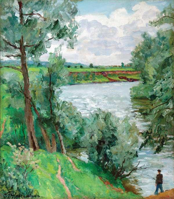 On the river Protva. Fisherman., Oil On Canvas by Pyotr Konchalovsky (1876-1956, Russia)