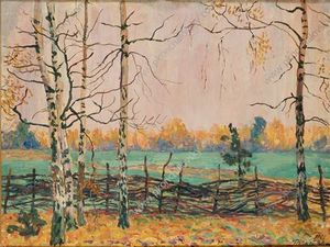 Pyotr Konchalovsky - Birch trees by the fence